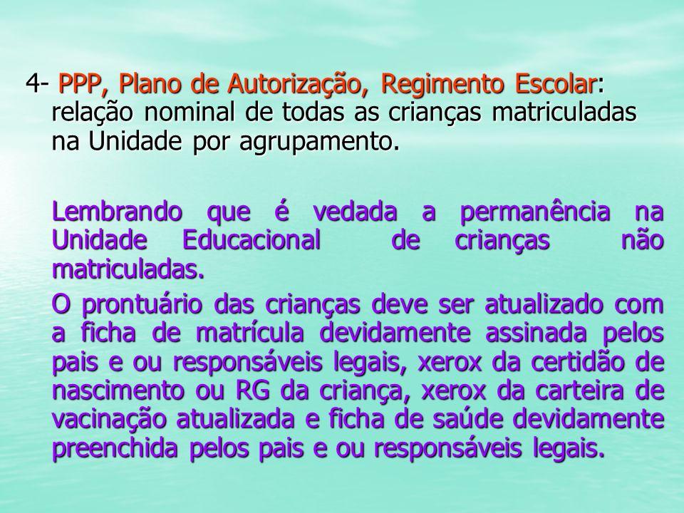 4- PPP, Plano de Autorização, Regimento Escolar: relação nominal de todas as crianças matriculadas na Unidade por agrupamento.