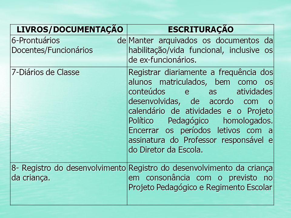 LIVROS/DOCUMENTAÇÃO ESCRITURAÇÃO. 6-Prontuários de Docentes/Funcionários.