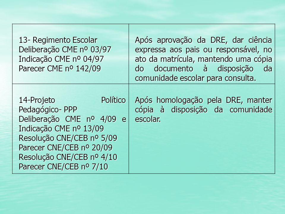 13- Regimento Escolar Deliberação CME nº 03/97. Indicação CME nº 04/97. Parecer CME nº 142/09.
