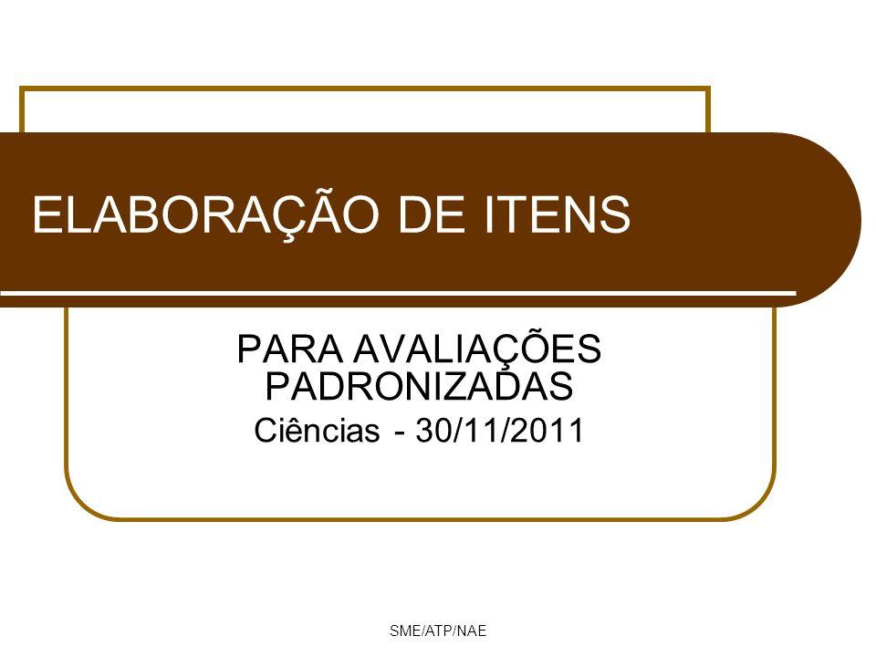 PARA AVALIAÇÕES PADRONIZADAS Ciências - 30/11/2011