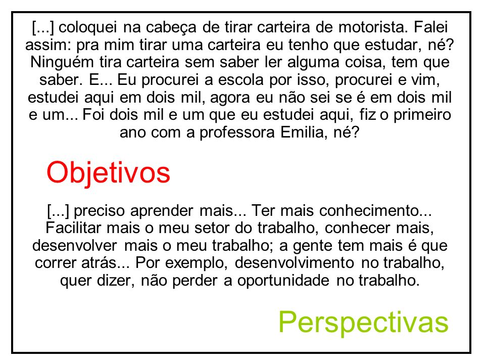 Objetivos Perspectivas