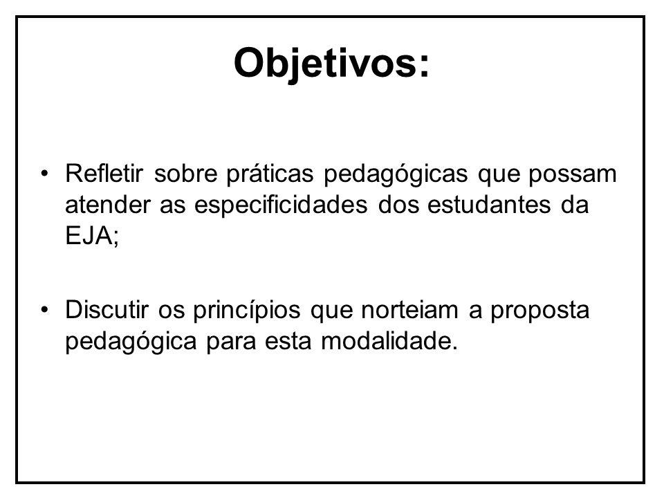 Objetivos:Refletir sobre práticas pedagógicas que possam atender as especificidades dos estudantes da EJA;