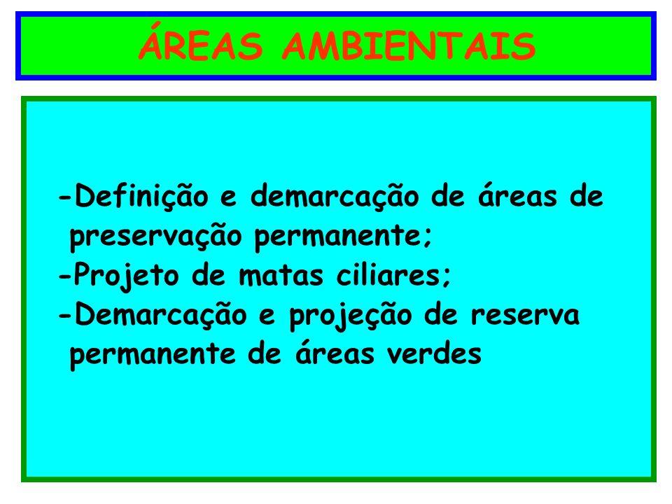 ÁREAS AMBIENTAIS -Definição e demarcação de áreas de