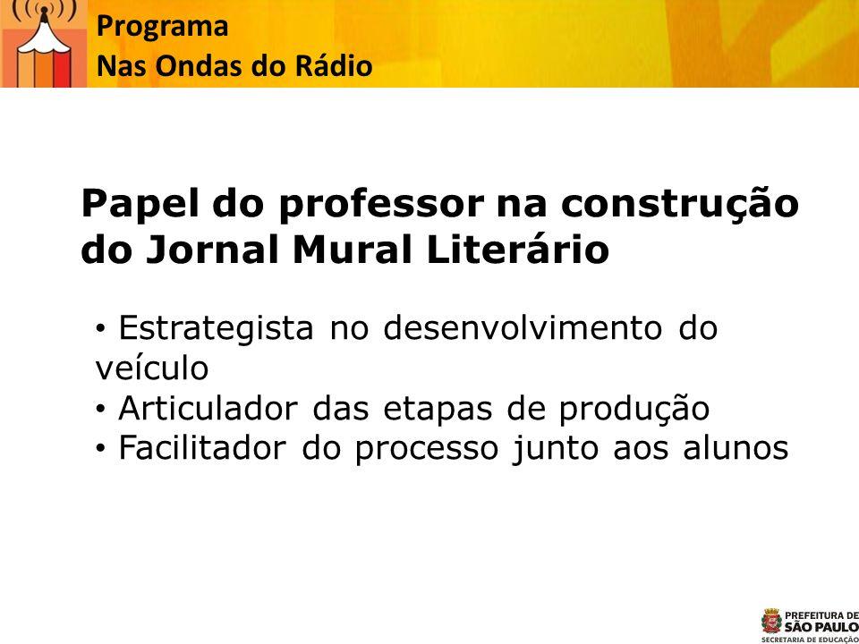Papel do professor na construção do Jornal Mural Literário