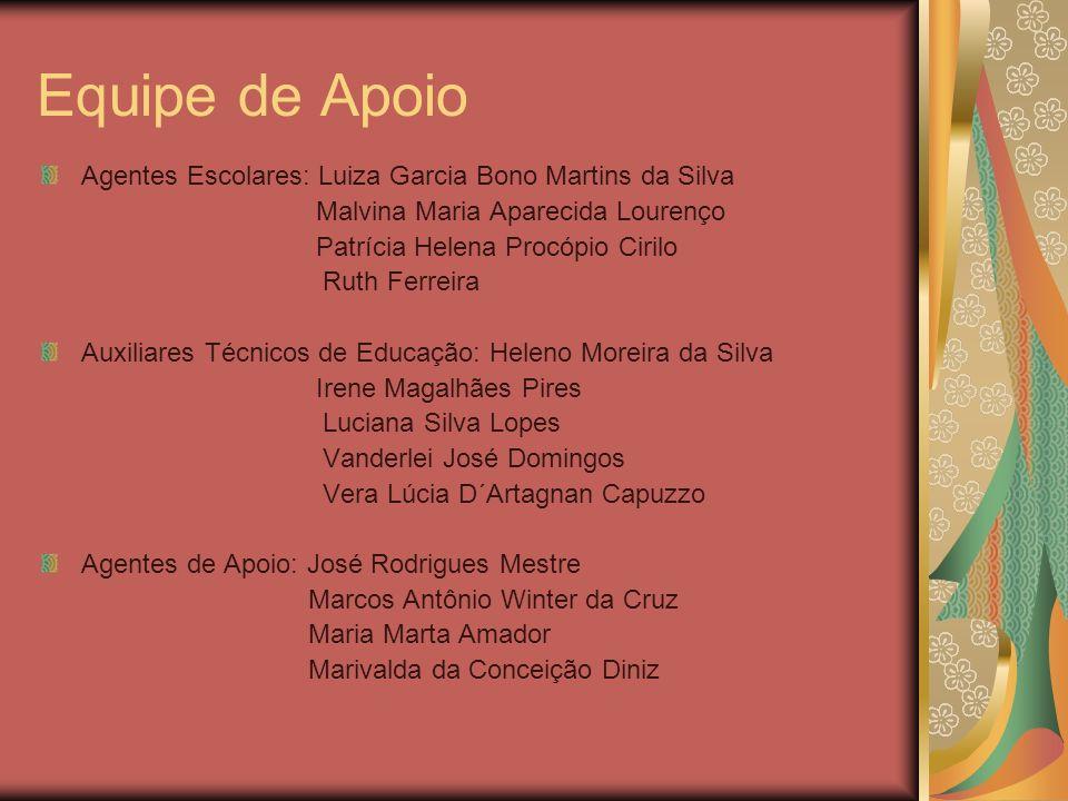 Equipe de Apoio Agentes Escolares: Luiza Garcia Bono Martins da Silva