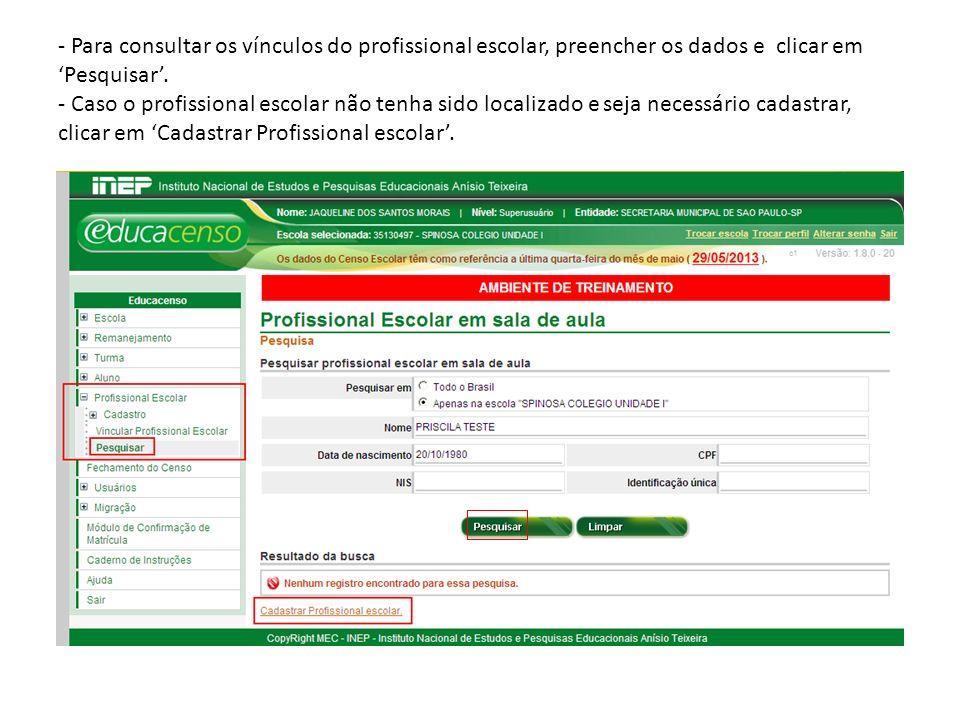 - Para consultar os vínculos do profissional escolar, preencher os dados e clicar em 'Pesquisar'.