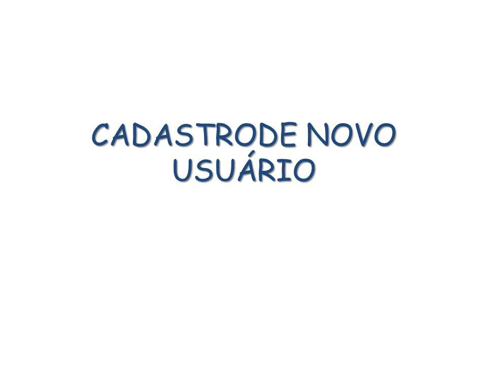 CADASTRODE NOVO USUÁRIO