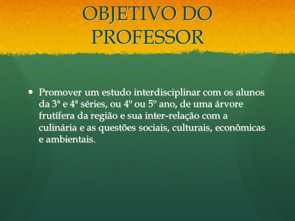 OBJETIVO DO PROFESSOR