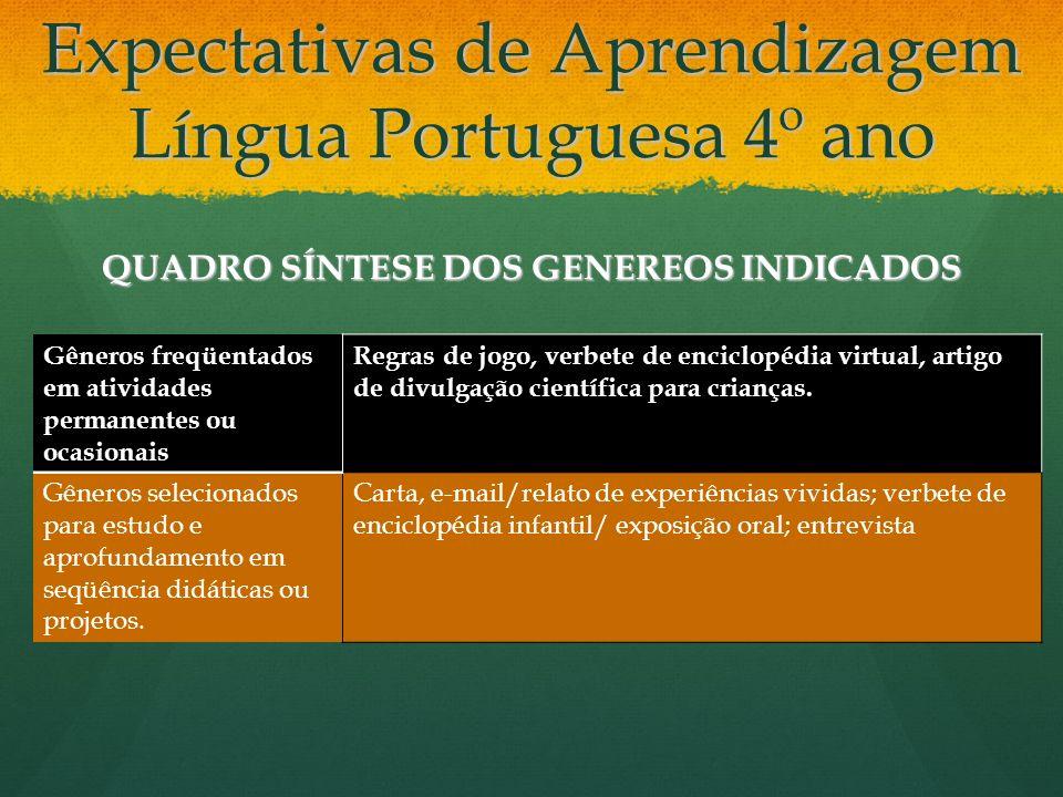Expectativas de Aprendizagem Língua Portuguesa 4º ano