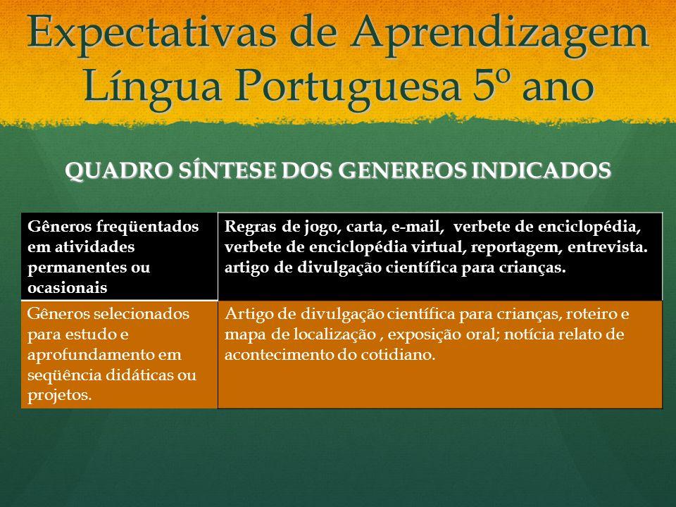 Expectativas de Aprendizagem Língua Portuguesa 5º ano