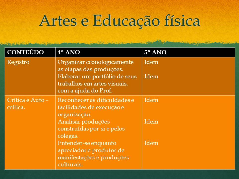 Artes e Educação física