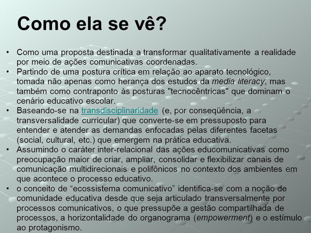 Como ela se vê Como uma proposta destinada a transformar qualitativamente a realidade por meio de ações comunicativas coordenadas.