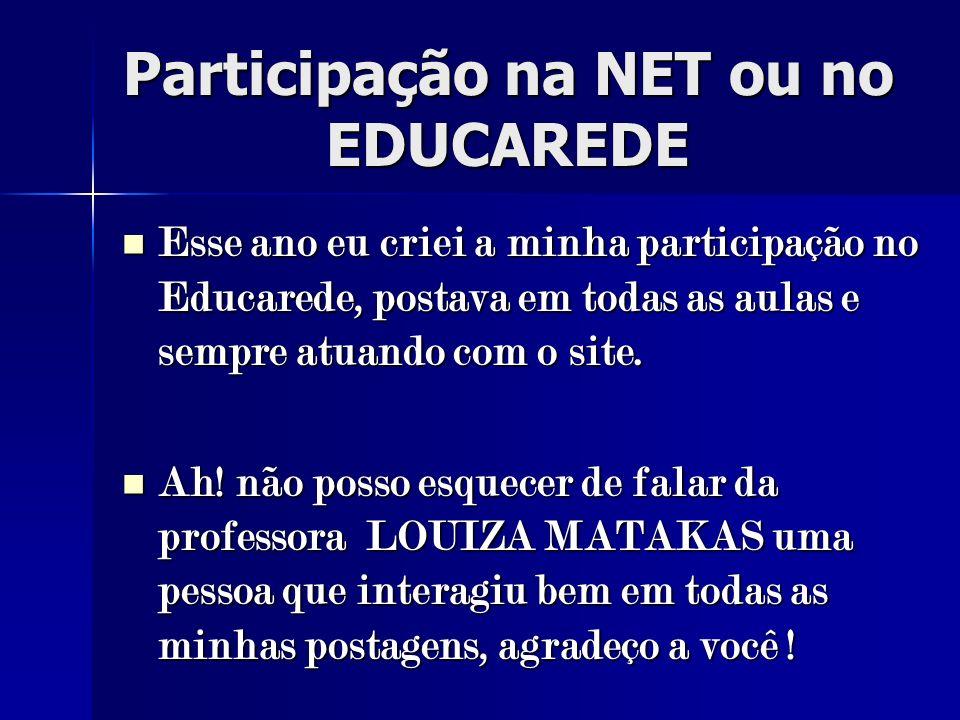 Participação na NET ou no EDUCAREDE