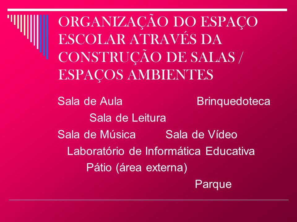 ORGANIZAÇÃO DO ESPAÇO ESCOLAR ATRAVÉS DA CONSTRUÇÃO DE SALAS / ESPAÇOS AMBIENTES