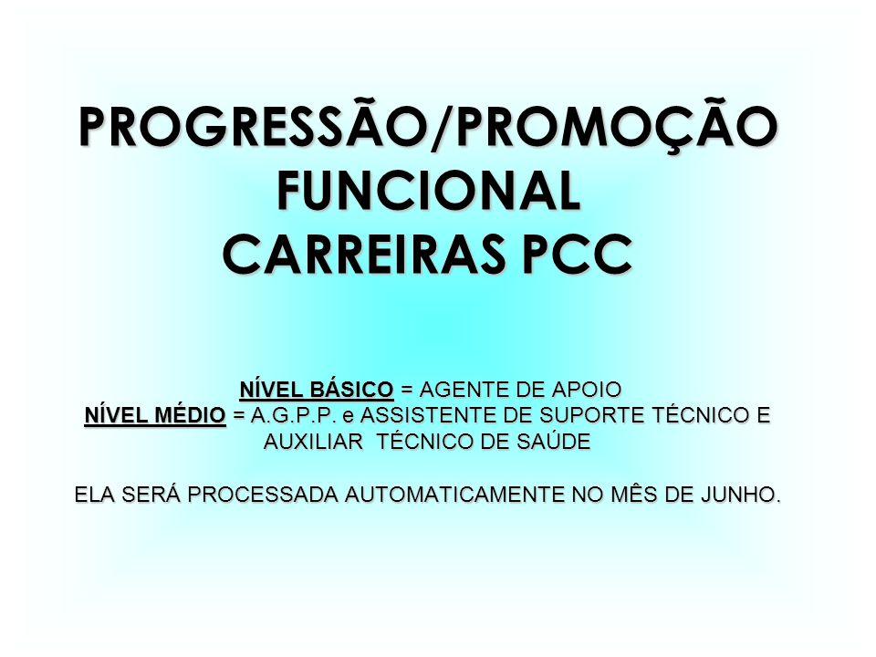PROGRESSÃO/PROMOÇÃO FUNCIONAL CARREIRAS PCC