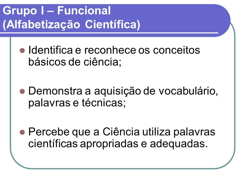 Grupo I – Funcional (Alfabetização Científica)
