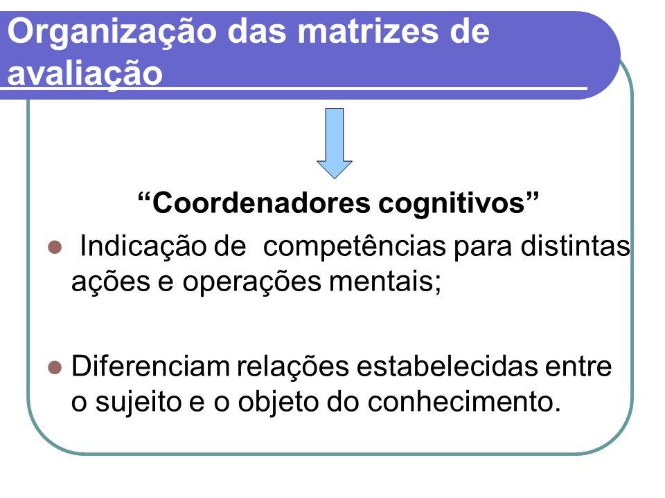 Organização das matrizes de avaliação