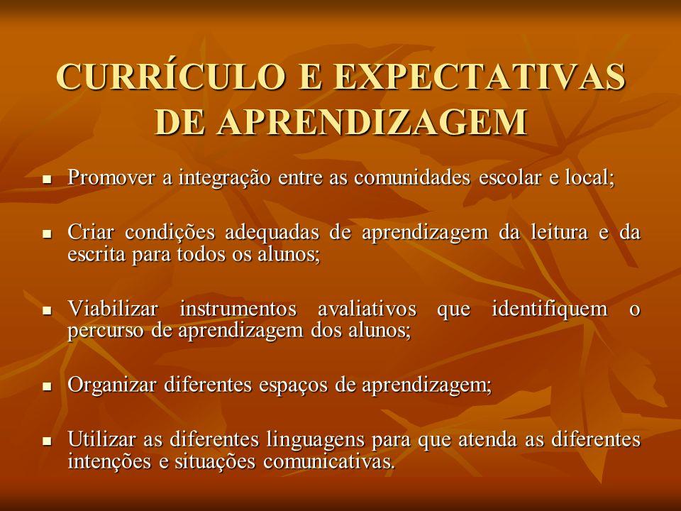 CURRÍCULO E EXPECTATIVAS DE APRENDIZAGEM
