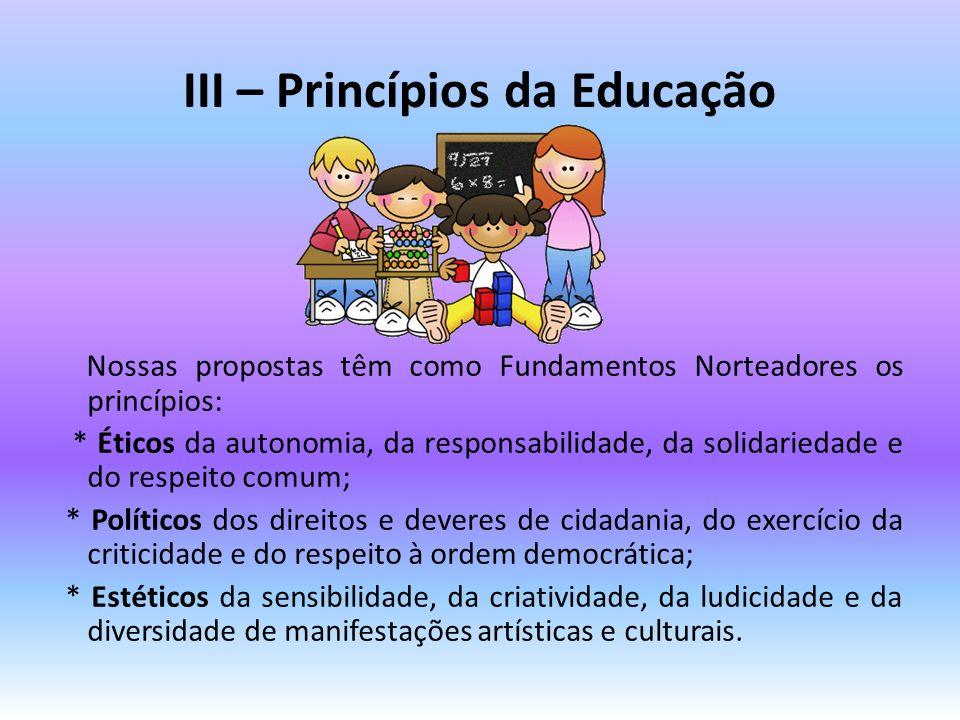 III – Princípios da Educação