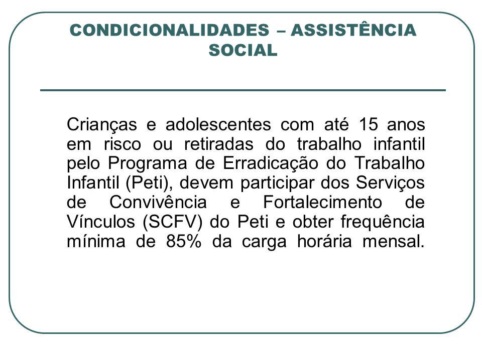 CONDICIONALIDADES – ASSISTÊNCIA SOCIAL