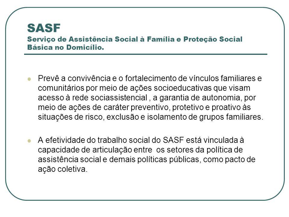 SASF Serviço de Assistência Social à Família e Proteção Social Básica no Domicílio.