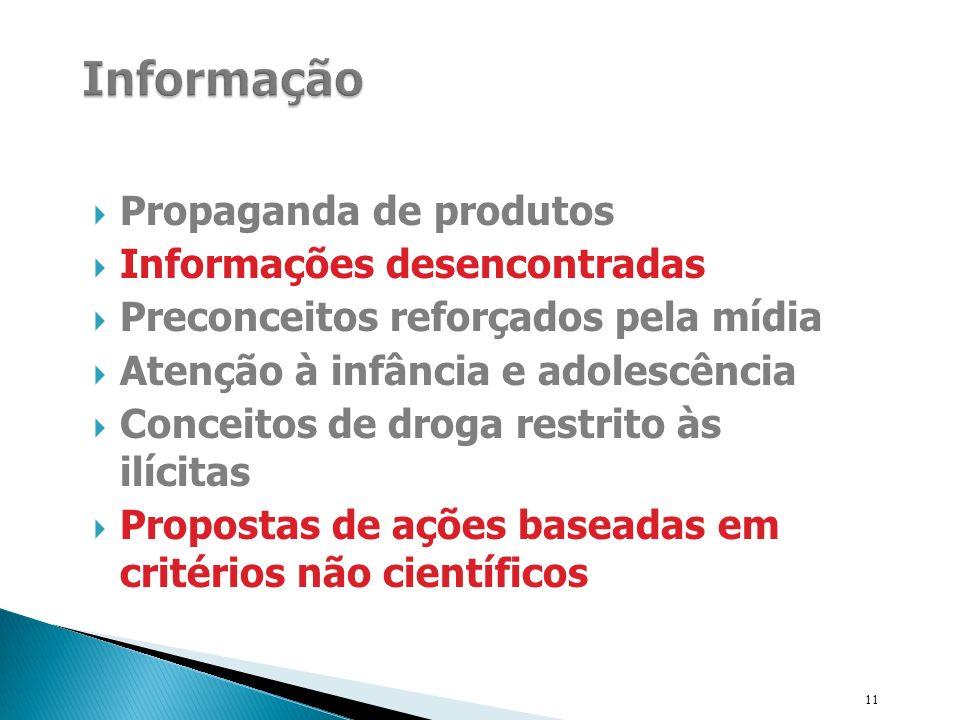 Informação Propaganda de produtos Informações desencontradas