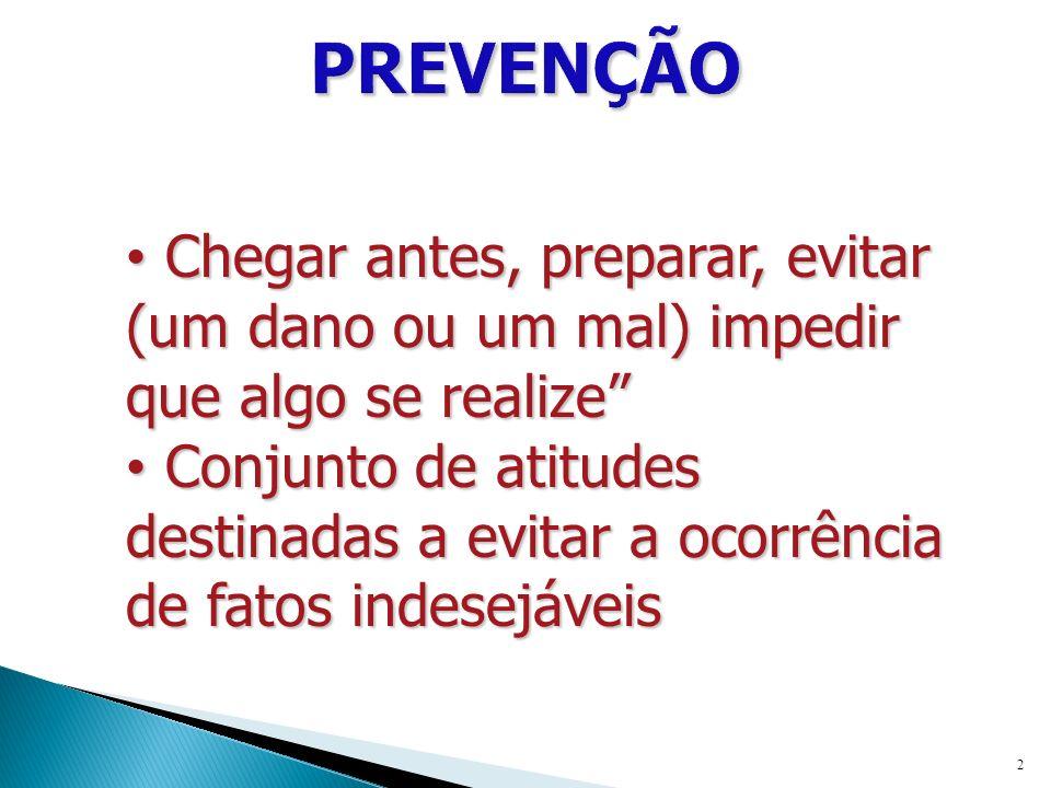 PREVENÇÃO Chegar antes, preparar, evitar (um dano ou um mal) impedir que algo se realize