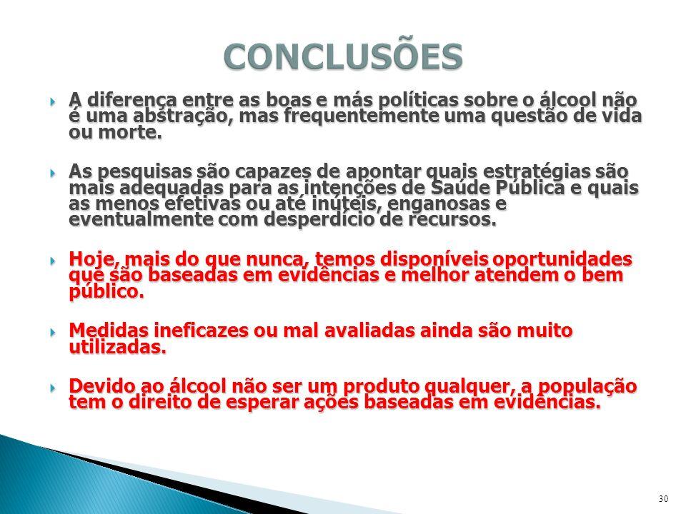 CONCLUSÕES A diferença entre as boas e más políticas sobre o álcool não é uma abstração, mas frequentemente uma questão de vida ou morte.