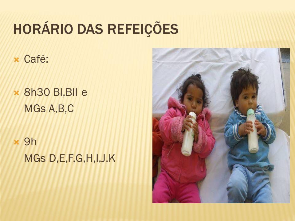 HORÁRIO DAS REFEIÇÕES Café: 8h30 BI,BII e MGs A,B,C 9h