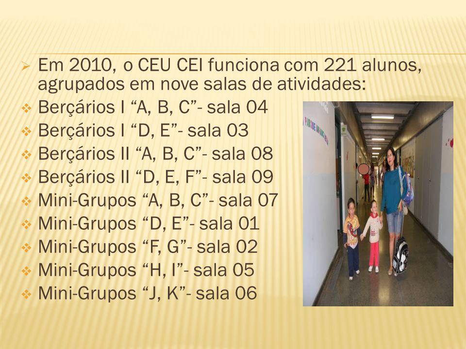 Em 2010, o CEU CEI funciona com 221 alunos, agrupados em nove salas de atividades: