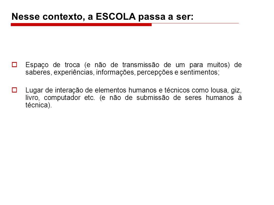 Nesse contexto, a ESCOLA passa a ser:
