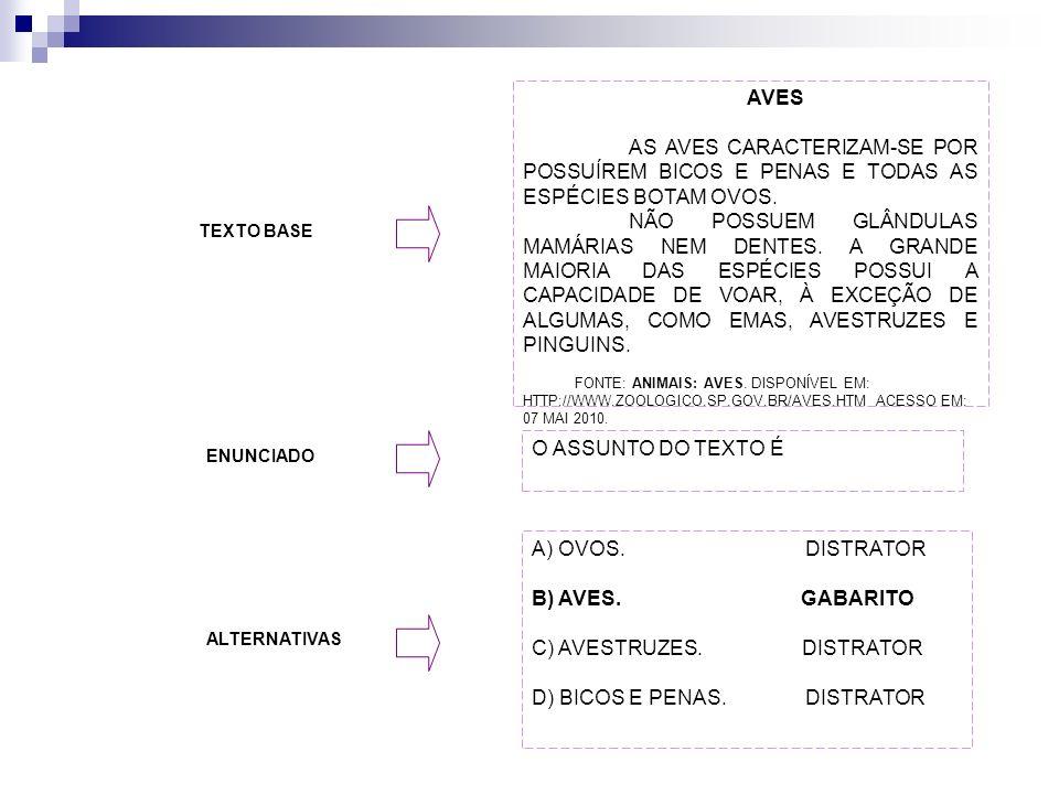 C) AVESTRUZES. DISTRATOR D) BICOS E PENAS. DISTRATOR