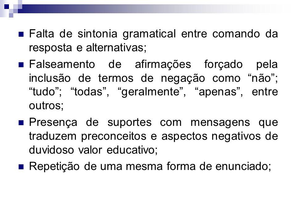 Falta de sintonia gramatical entre comando da resposta e alternativas;