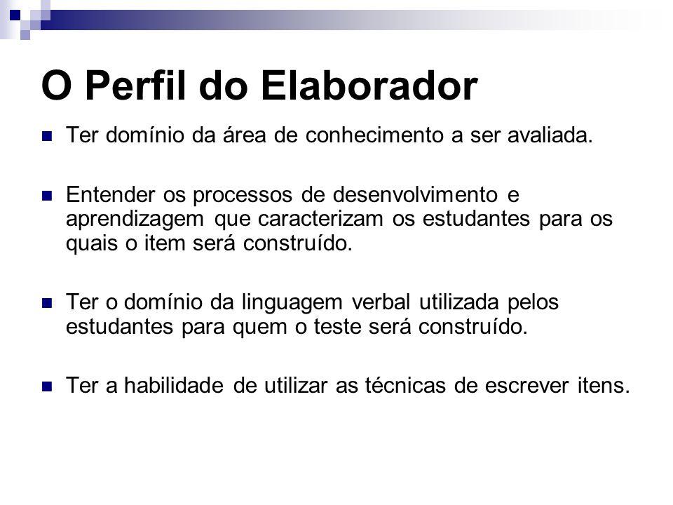 O Perfil do ElaboradorTer domínio da área de conhecimento a ser avaliada.