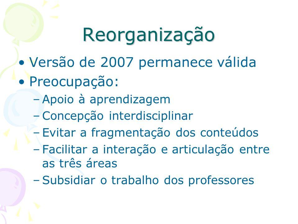 Reorganização Versão de 2007 permanece válida Preocupação: