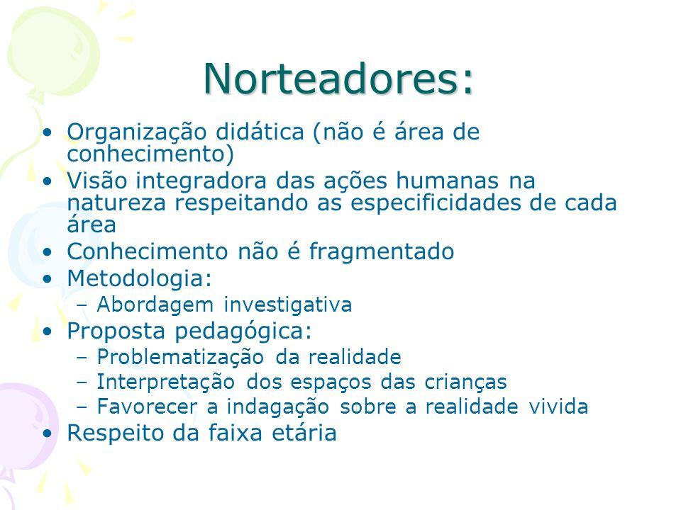 Norteadores: Organização didática (não é área de conhecimento)
