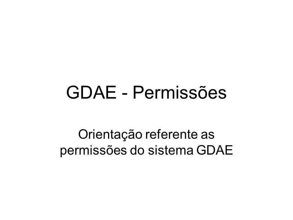 Orientação referente as permissões do sistema GDAE