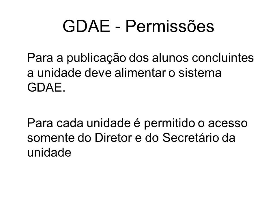 GDAE - Permissões Para a publicação dos alunos concluintes a unidade deve alimentar o sistema GDAE.