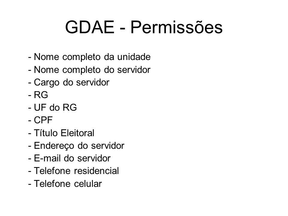 GDAE - Permissões - Nome completo da unidade