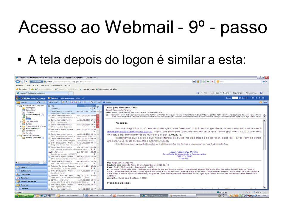 Acesso ao Webmail - 9º - passo