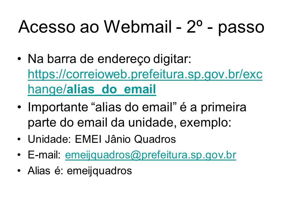 Acesso ao Webmail - 2º - passo