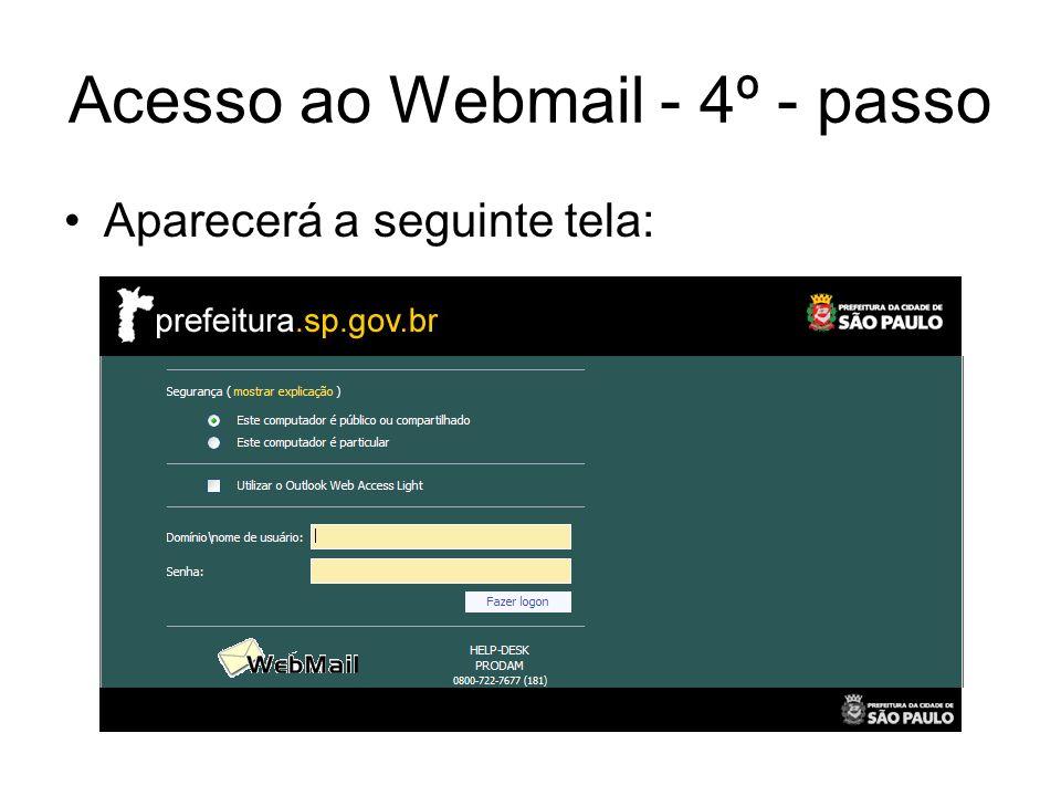 Acesso ao Webmail - 4º - passo