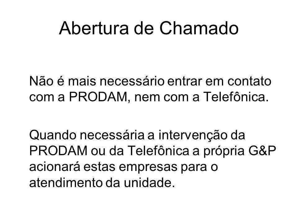 Abertura de Chamado Não é mais necessário entrar em contato com a PRODAM, nem com a Telefônica.