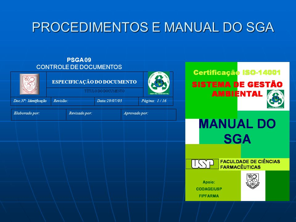 PROCEDIMENTOS E MANUAL DO SGA