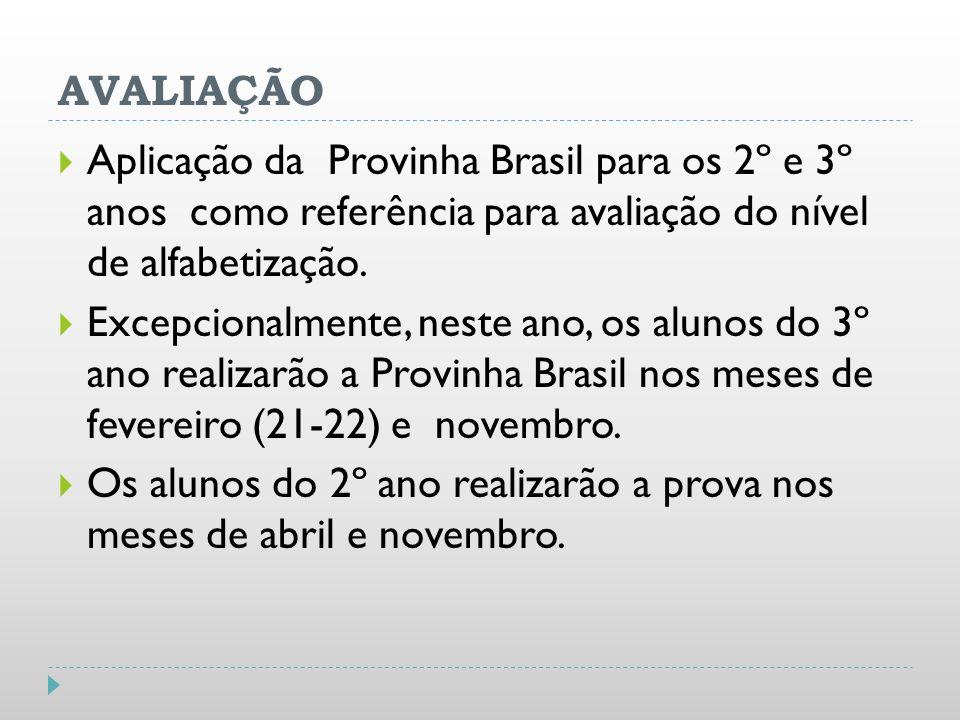 AVALIAÇÃOAplicação da Provinha Brasil para os 2º e 3º anos como referência para avaliação do nível de alfabetização.