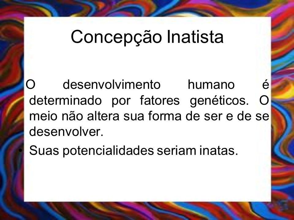 Concepção InatistaO desenvolvimento humano é determinado por fatores genéticos. O meio não altera sua forma de ser e de se desenvolver.