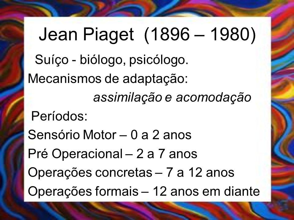 Jean Piaget (1896 – 1980) Suíço - biólogo, psicólogo.