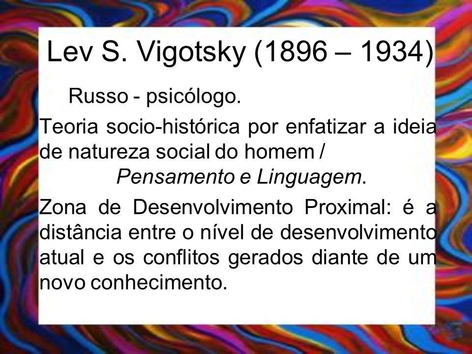 Lev S. Vigotsky (1896 – 1934) Russo - psicólogo.