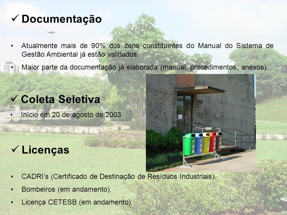 Documentação Coleta Seletiva Licenças