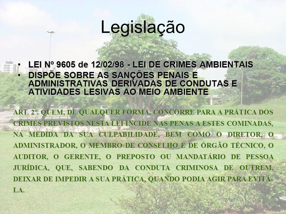 Legislação LEI Nº 9605 de 12/02/98 - LEI DE CRIMES AMBIENTAIS